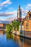 Bruges Belgium vintage stone houses and bridge