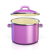 Purple cooking pot open lid 3D render illustration