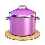 Purple cooking pot on cork pad 3D