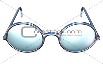Retro silver glasses front view 3D