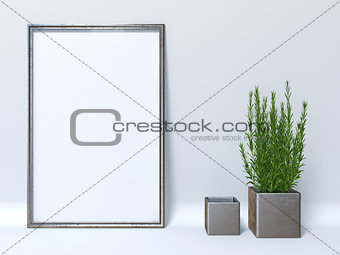 Mock up poster with two cube plant pots 3D