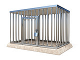 Metal cage with lock side view 3D render illustration