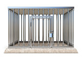 Metal cage with lock front view 3D render illustration