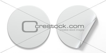 Blank white circle stickers with curved corner 3D