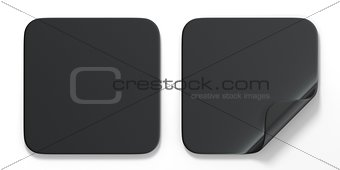 Blank black square stickers with curved corner 3D