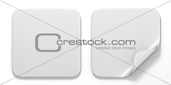 Blank white square stickers with curved corner 3D