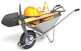Wheelbarrow with shovel, pickaxe, traffic cones and hardhat 3D