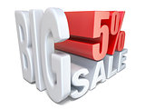 White red big sale sign PERCENT 5 3D