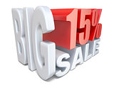 White red big sale sign PERCENT 15 3D