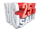 White red big sale sign PERCENT 25 3D