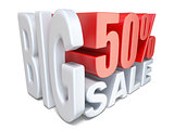 White red big sale sign PERCENT 50 3D