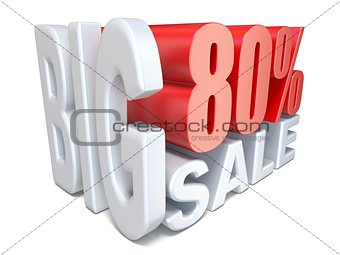 White red big sale sign PERCENT 80 3D