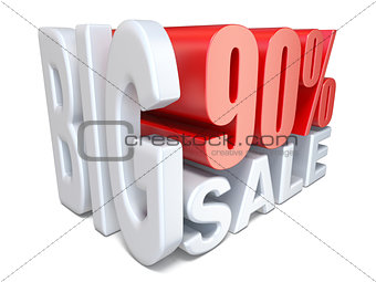 White red big sale sign PERCENT 90 3D