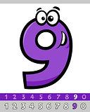 number nine cartoon character