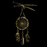 Vector illustration with hand drawn dream catcher isolated on a black background. Luxury golden feathers and beads.