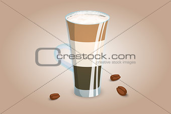 Three layer coffee drink in a transparent cup with milk foam. Unusual coffee serving. Vector illustration.