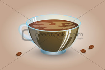 Classic black coffee in a transparent cup. Favorite morning drink. Vector illustration.