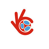 Soccer league logo, agreement football signal, best sport choice red vector icon, fingers show okay sign, soccer time.