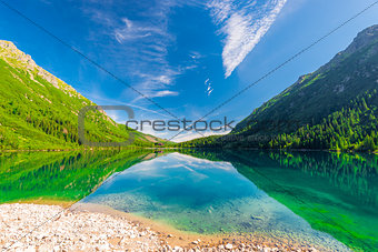Beautiful lake, located in the mountains of the Tatra Morskoe Ok