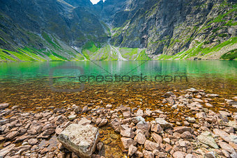 clean water of a cold mountain lake in the Tatras, lake Czarny S