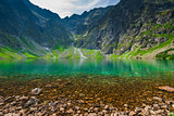 a cold picturesque mountain lake  Czarny Staw in the high Tatra