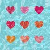 Nine shiny hearts