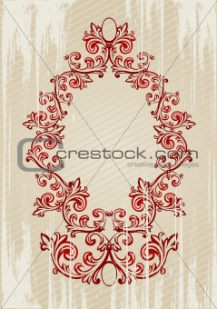 Vector illustration of a red abstract floral frame