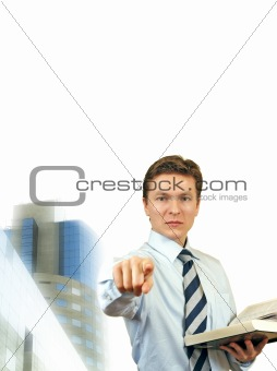 Business man trying to impose , young lawyer with corporate buil