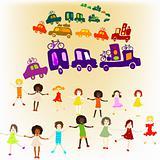 caravan, group of kids playing
