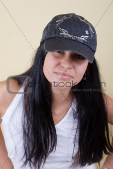 black hair young woman in cap