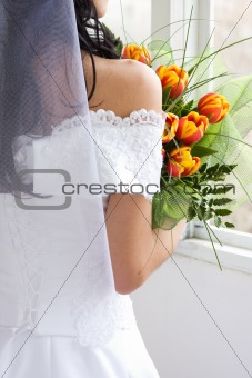 Bride with tulips