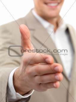Businessman with an open hand