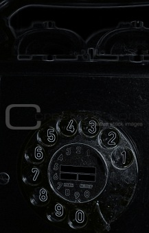 Image of black retro telephone on white