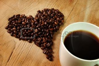 Fresh Coffee beans Heart