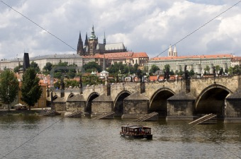 prague - cathedral and bridge