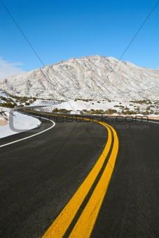 road through winter mountains