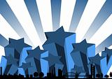 Blue starry skyline