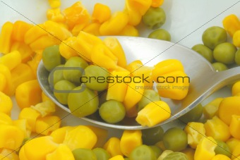 green peas and sweetcorn macro