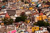Colored houses, churches Fort, Guanajuato Mexico