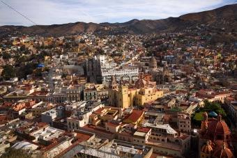 Churches Colored Houses El Pipilia Overlook Guanajuato Mexico