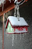 Bird House in Ice Storm