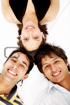 girl and two men smiling