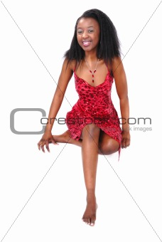attractive African girl in red