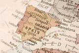 Spain on a globe