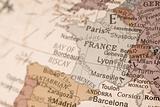 France on a globe