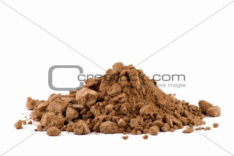 A pile of Cocoa powder isolated on white background