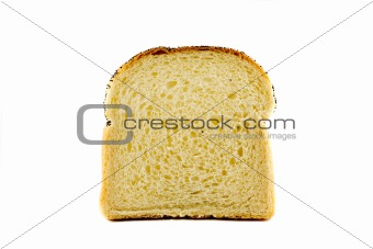 A singel slice of toast isolated on white background