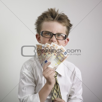 Angry boy with cash
