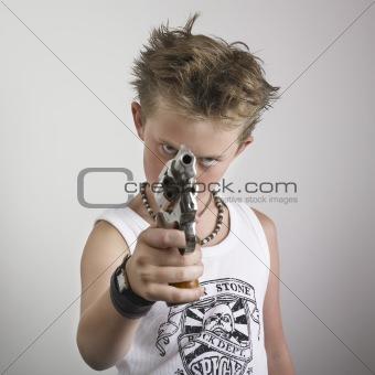 Bad attitude boy with gun