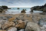 Rocks of the beach of Usgo in Cantabria